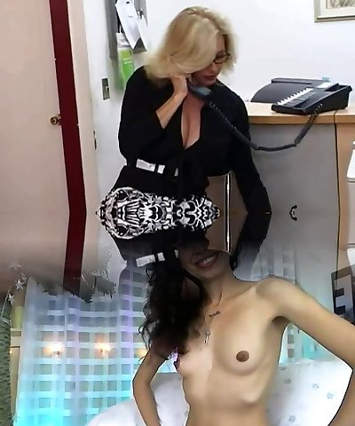 Mature assistant gets cum on her big orbs