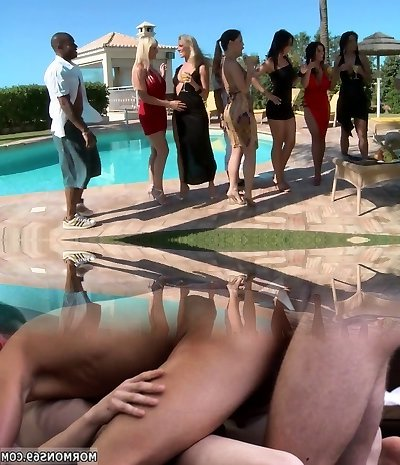 Horny adult movie stars Eve Angel, Nataly D'Angelo and Mandy Saxo in greatest dp, group hookup porn movie