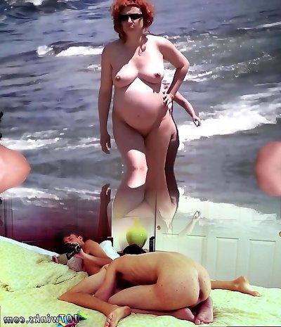 Spy Beach Mature Pregnant Women saggy Udders monstrous Nipples