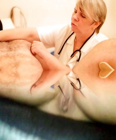 CFNM femdom mature physician investigating a pathetic slave