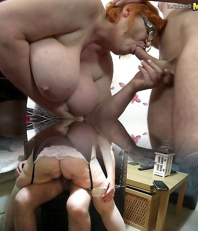 Huge titted big mature mother sucking and fucking