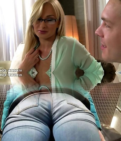 Scorching mommy in glasses sucks dude's yummy dick with eagerness