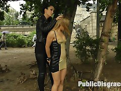 Nikki Thorne is back and this time she gets punished by Fetish Liza. This anal slut in a tight rubber dress is a filthy mess. She takes huge cocks in her ass and double penetration while being humiliated by the crowd. We cover this slut in cum and drag her through the dirty streets.