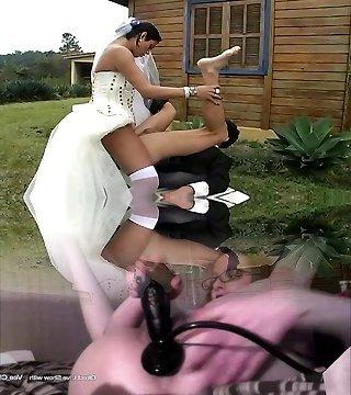Hot shemale bride fucks new hubby