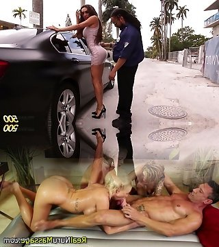 Lewd brief black cop searches tall ladyboy and invites her for tear up meeting