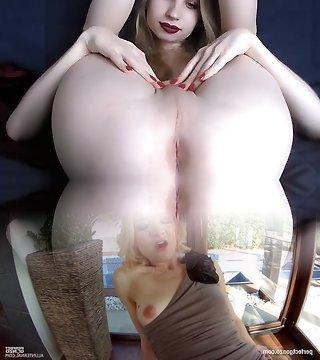 Pale skinny blonde tgirl