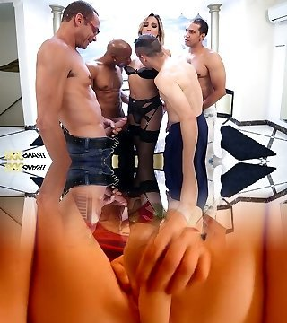Super-naughty curvy Tgirl Bianca Hills has nothing against some ferocious gangbang