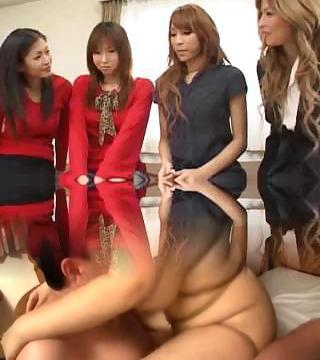 Pretty Asian ladyboys orgy