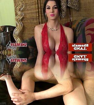Busty cuban tgirl in lingerie unwraps n tease