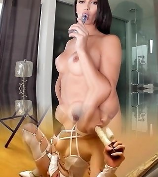 Gorgeous tgirl masturbates after stripping