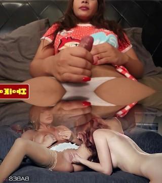 Chesty thailand ladyboy enjoys wanking