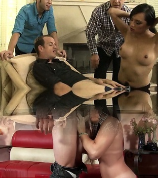 Brunette tranny Jessica Fox gang-fucked