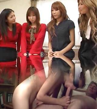 Pretty Asian shemales orgy