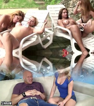 T-babes in 4 way strip nude by pool and fuck firm cocks