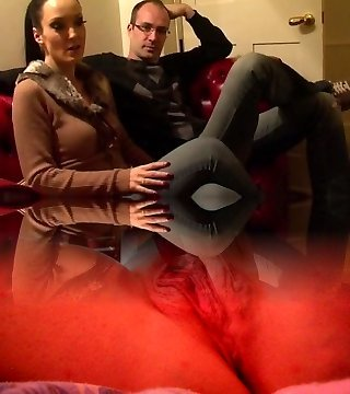 Ultra-kinky wife in PVC with crossdressing husband