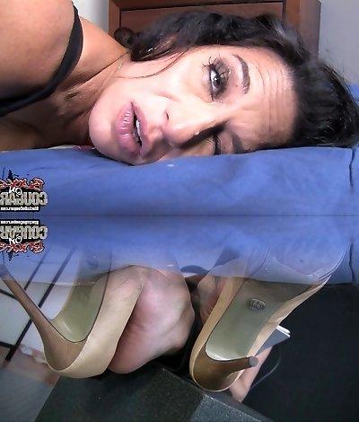 Brutal African stud fucks plump brunette mommy Melissa Monet in mish posture