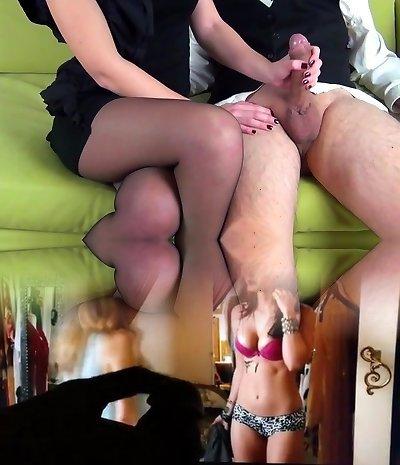 Handjob in black stocking