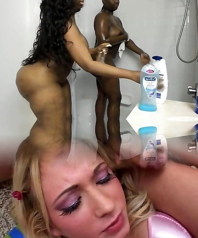Shower time - 2 Hot Black Beauties Fat Funbags & Big Ass