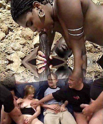 ebony milf with hairy pussy enjoy big black cock at beach