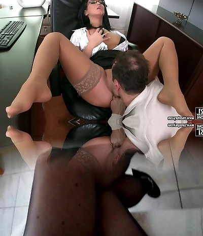 Seductive secretary Carmen Ebony flirting with her manager