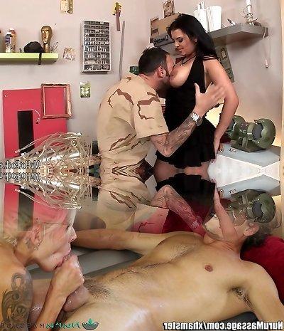 Jasmine Black is a sexy brunette secretary who walks back into the custodians