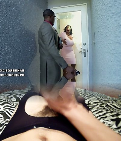 Hot ebony BBW Maseratti fucks horny black boy on the white sofa