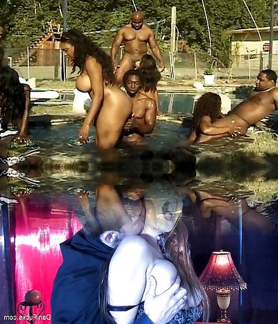 Buttfuck and vaginal soiree at the pool
