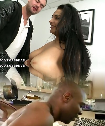Well shaped big-titted senorita Rikki Nyx pounds on the ebony leather couch