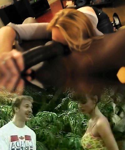blond cougar vs bbc ball licking pov
