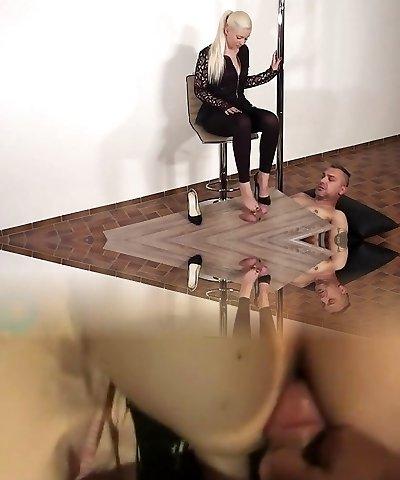 German shoejob heeljob footjob dark-hued heels
