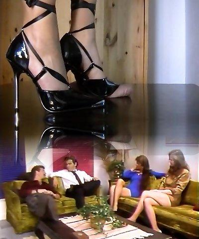 shoejob with dark-hued stiletto