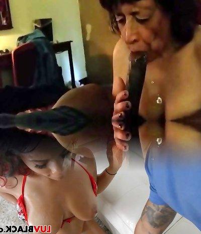 Granny sucks Black Dong & Swallow.