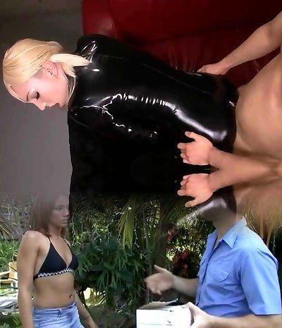 Blonde Slut Sucks And Fucks In Dark-hued Latex Catsuit