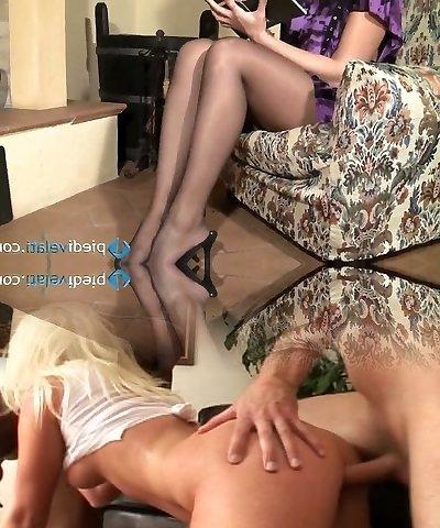 Nasty brunette ultra-cutie Flavia looks irresistible in black nylon stockings