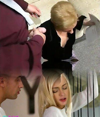 Blonde Cougar Poked In Her Black Pantyhose