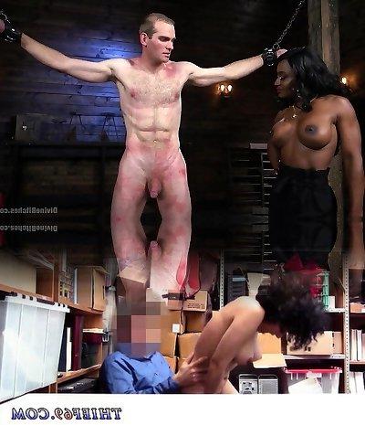 Ebony Dominatrix Punishes Her Slave With Pegging