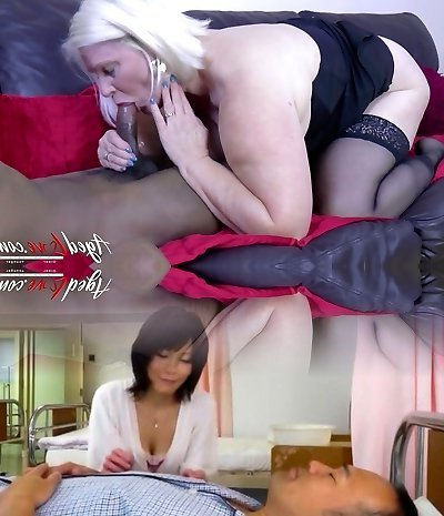 Mature UK slut Lacey Starr does her best while blowing heavy black wood