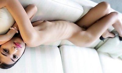 Whorey thai ladyboy gets booty and jaws gangbanged rough