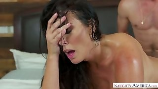 Bitchy stepmom Reagan Foxx gets private with her stepson in the laundry apartment