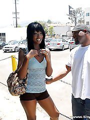 Sexy ebony babe gets creamy man juice on her black skin