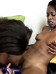 Lesbian ebony hotties Alicia Tyler and Jazmyne Sky pleasing each other with a hook-up plaything