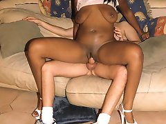 Beautiful ebony whore gives head and gets pretty face white jizzed