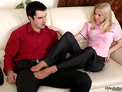 Voluptuous chick in open toes pantyhose giving perfect footjob like a pro