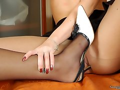 Lesbian gfs in lacy tights caressing cooters with their high heels