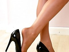 Simply black high heels and some gorgeous long legs