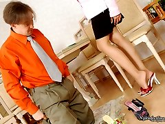 Luscious babe in barely visible pantyhose enjoying frantic nylon oral games