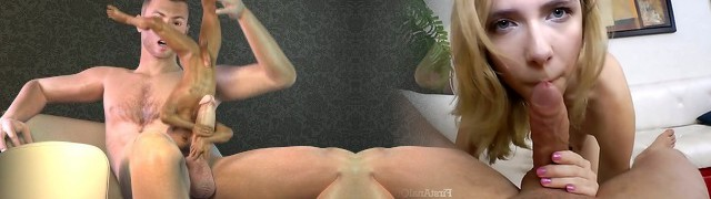 Mini 3d hunk deep-throats cock and gets ravaged before getting cummed on