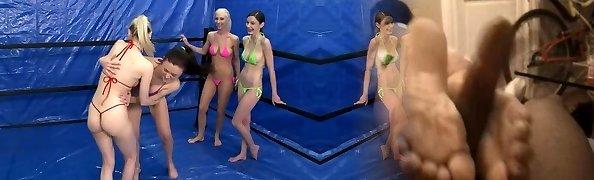 oily bikini tanga struggle