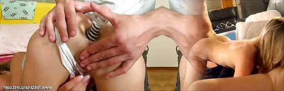 Puny girl luvs big cocks and sperm in her ass