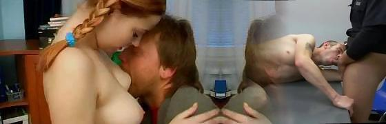 Wonderful crimson-haired teen with firm breast worships tender lovemaking